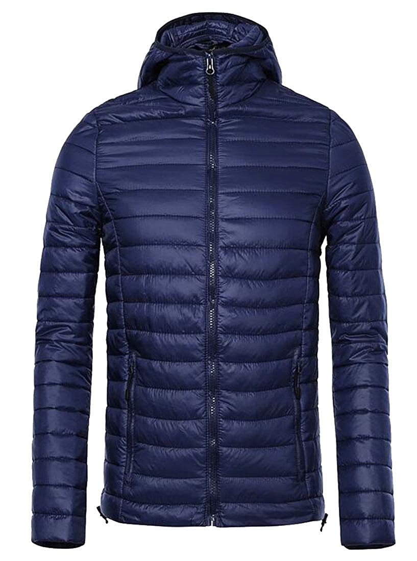 Yayu Men Winter Zipper Warm Hooded Puffer Coat Lightweight Quilted Padded Down Jacket