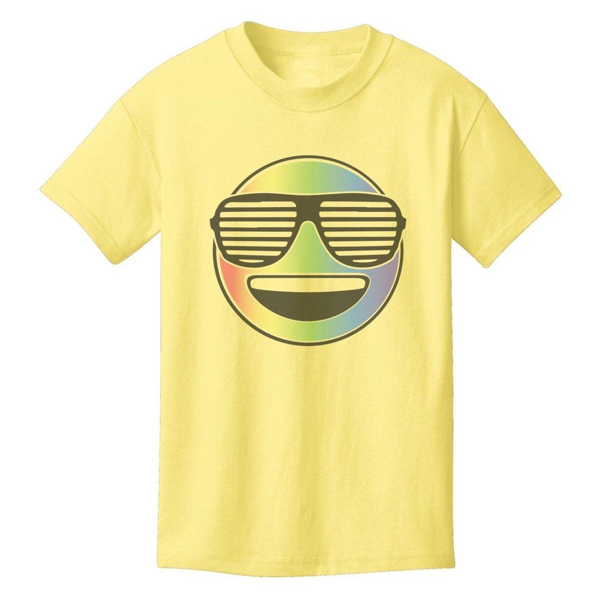 Digital T-Shirt Shop Boys Cool Rainbow Happy Emoji with Sunglasses X-Small YELLOW by Digital T-Shirt Shop