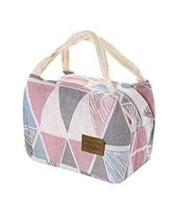 HADIY for Women Kids Men Insulated Canvas Box Tote Bag Thermal Cooler Food Lunch Bags (Multicolor-A)