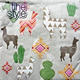 Fine Style Set of 40 Luncheon Paper Napkins, Ethnic Llama