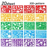 20 Pcs Drawing Stencils Set for Kids,Large Plastic Stencil Kit 300 Different Patterns Drawing Templates for Girls & Boys Gift.