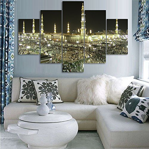 5 Piece Wall Decor Islamic Painting on Canvas Pictures of Hajj Pilgrimage to Kabah Jerusalem Modern Muslim Artwork Prints for Living Room Home Decor Wooden Framed Stretched Ready to Hang(60''Wx40''H) from Yatsen Bridge