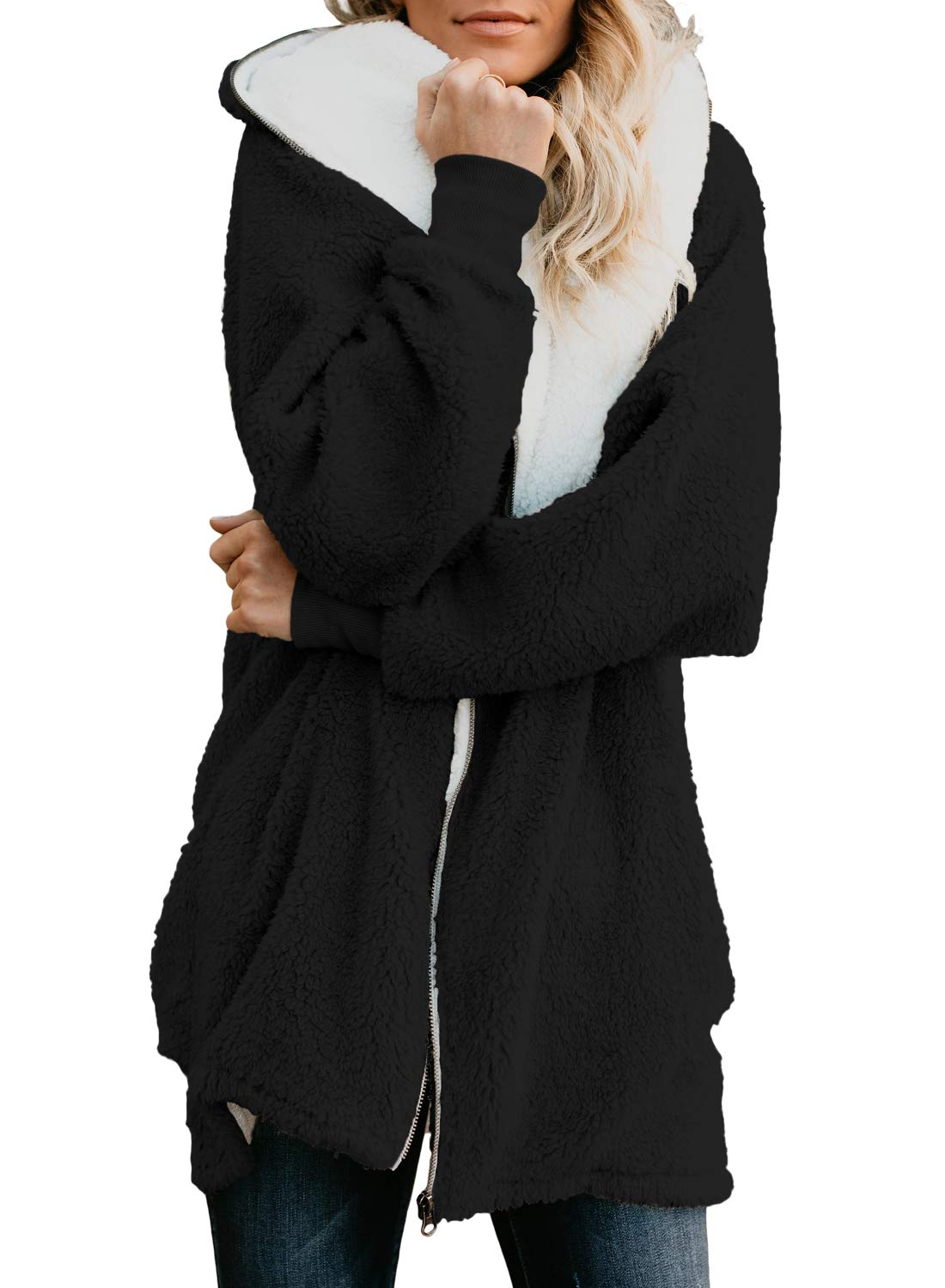 Dokotoo Womens Plus Size Casual Fleece Zip Down Long Sleeve Cardigans Open Front Hooded Fluffy Coat Jackets Outwear with Pockets Black X-Large