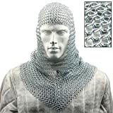 Medieval Battle Chainmail V Faced Mild Steel Coif