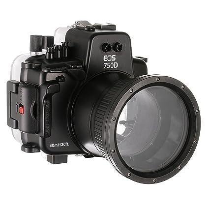 Funda Sumergible para cámara Canon EOS 750D DSLR Cmera con Lente ...