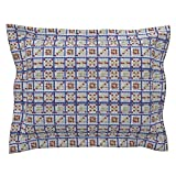 Roostery Bingo Euro Flanged Pillow Sham Bingo Cards 6On by Dd BAZ Natural Cotton Sateen Made