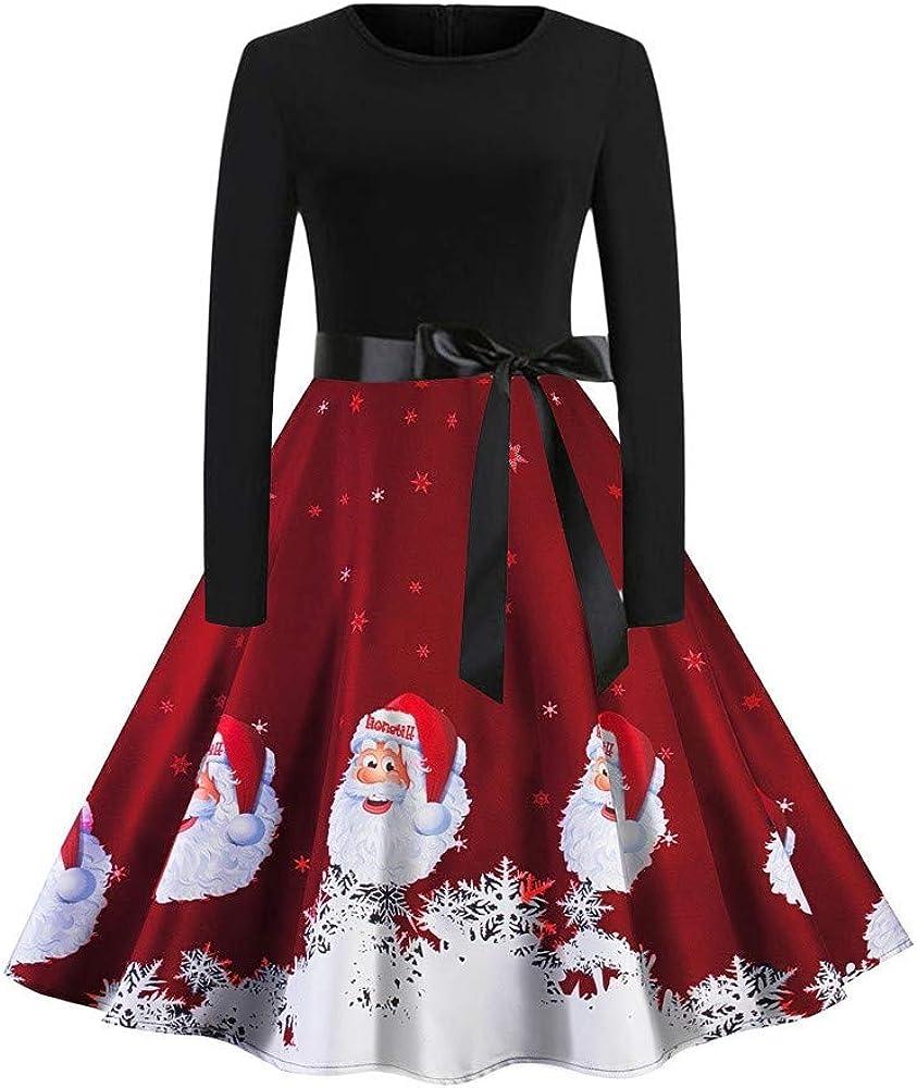 ASHOP Vestido de Navidad Mujer, Vestido para Mujer Navidad Long ...