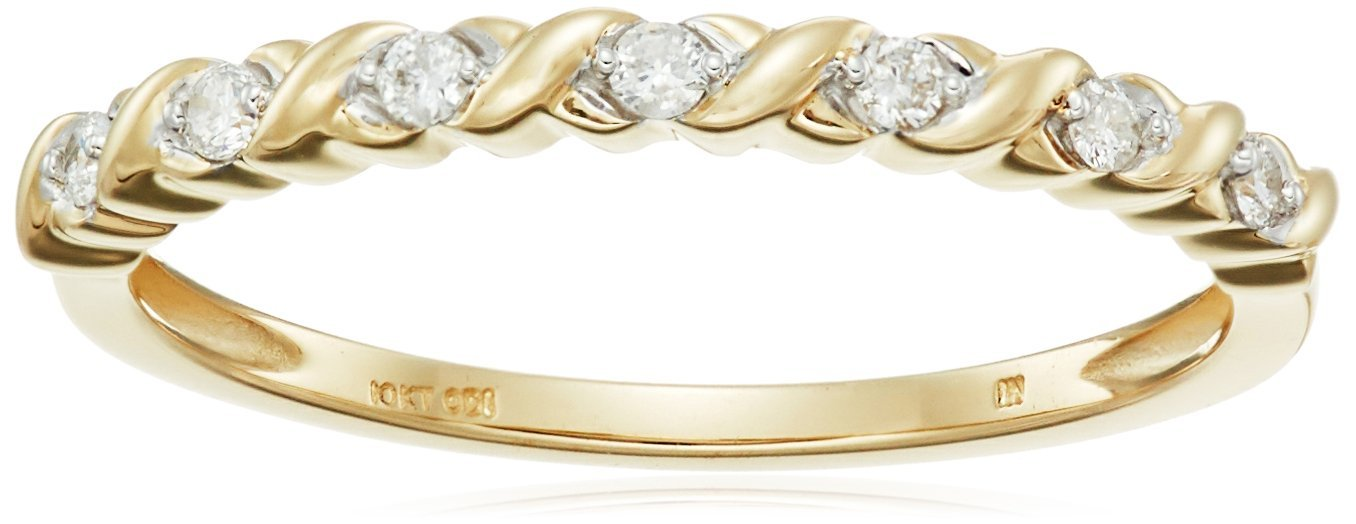 10k Yellow Gold Diamond 1/10 cttw Stacking Band, Size 6