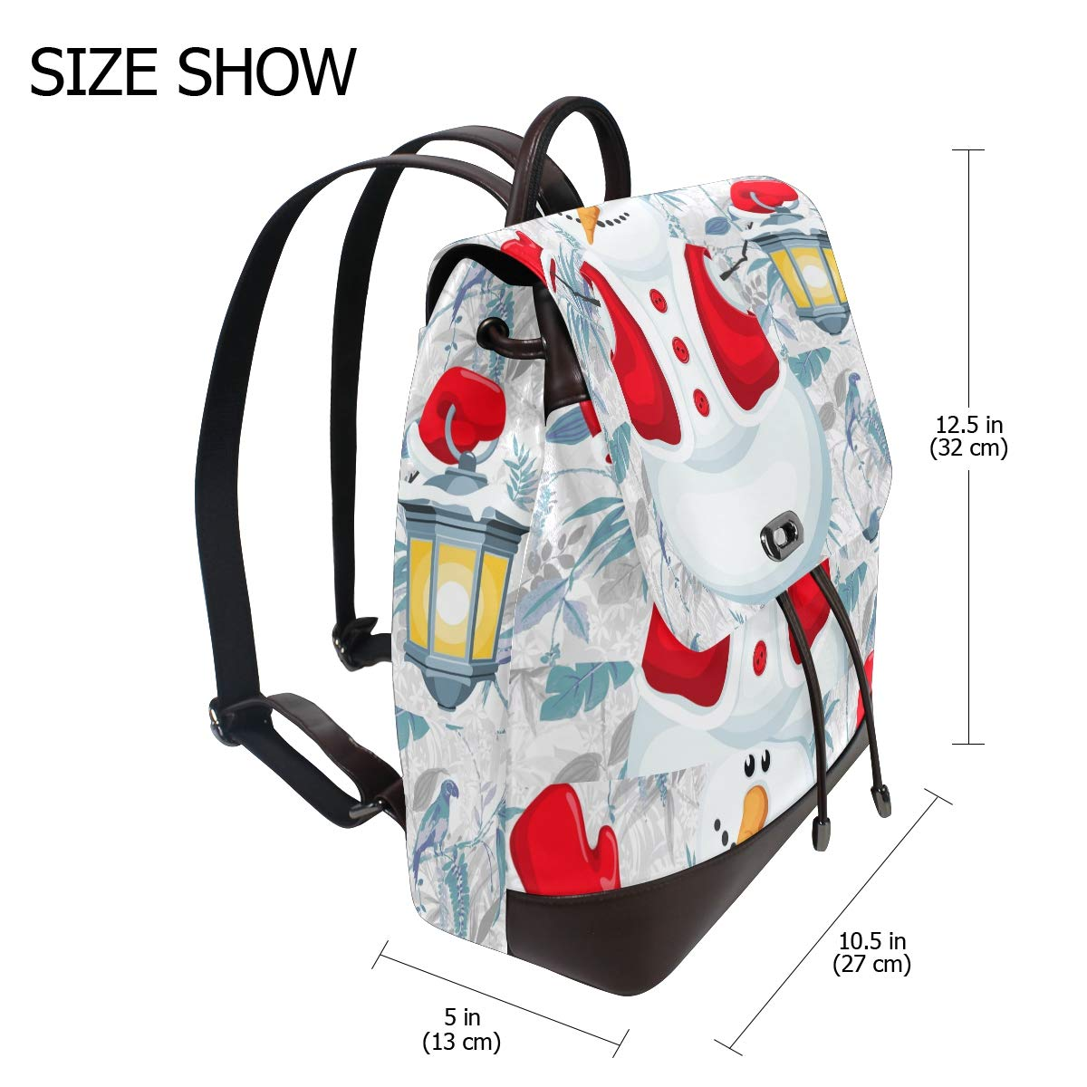 PU Leather Shoulder Bag,Christmas Snowman With Lantern Backpack,Portable Travel School Rucksack,Satchel with Top Handle