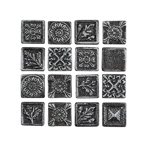 SomerTile WSHBSQSM Trent Square Metallic Resin Wall Medallion Tile, 1