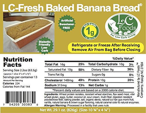 Low Carb Banana Bread - Fresh Baked - LC Foods - All Natural - No Sugar - Diabetic Friendly - 29.1 oz by LC-Foods (Image #1)