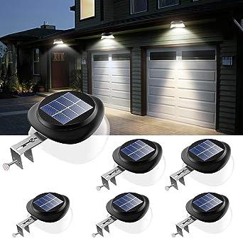 JSOT - Lámparas solares para exteriores, 9 luces LED solares para jardín, exterior [100 lm] Luz decorativa para valla, resistente al agua, lámpara de pared solar para terraza, luz blanca, 6 unidades...: Amazon.es: Iluminación