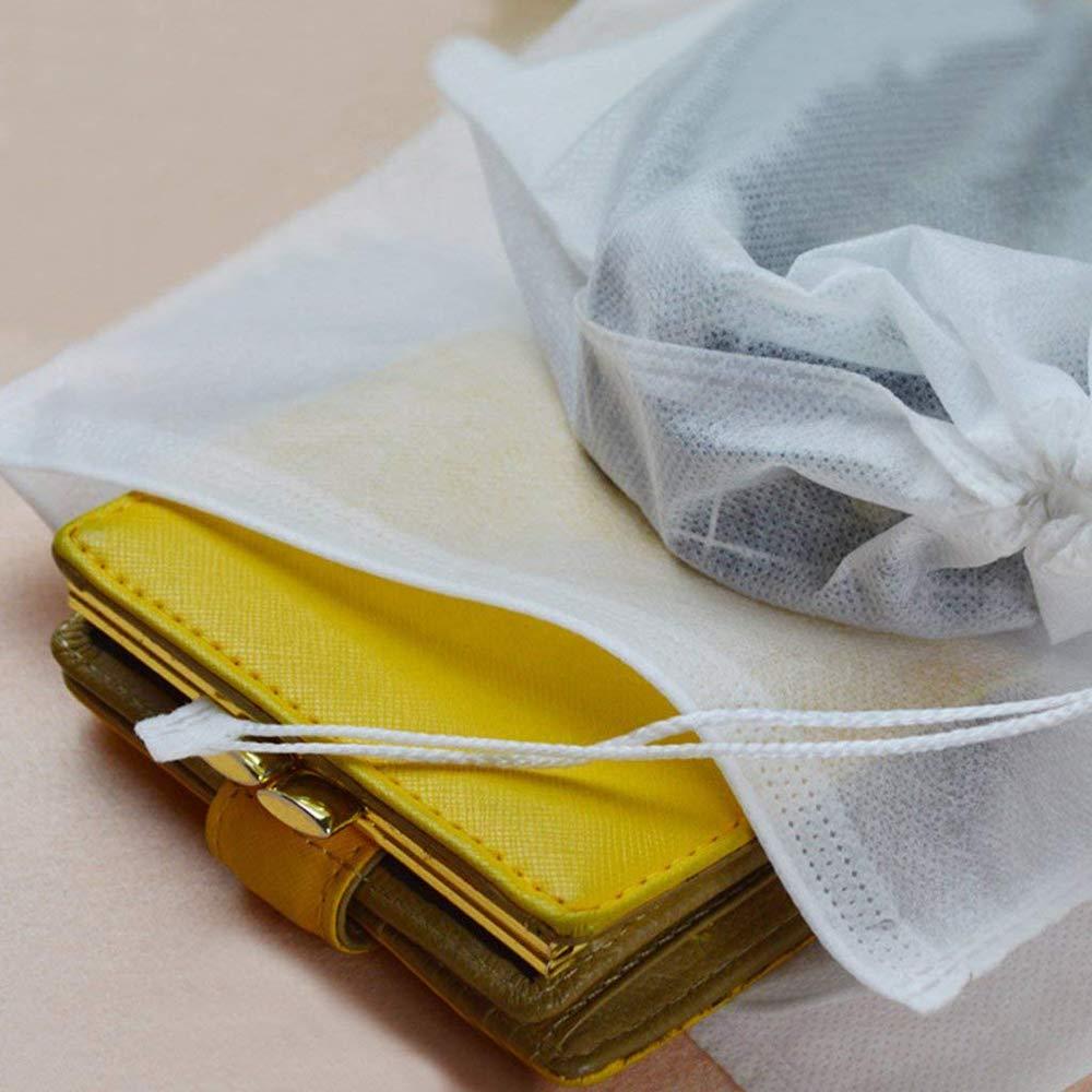 Xeminor 10Pcs Non-Woven Shoe Bag Travel Dustproof Drawstring Organizer Travel Carrying Supplies(White) by Xeminor (Image #2)
