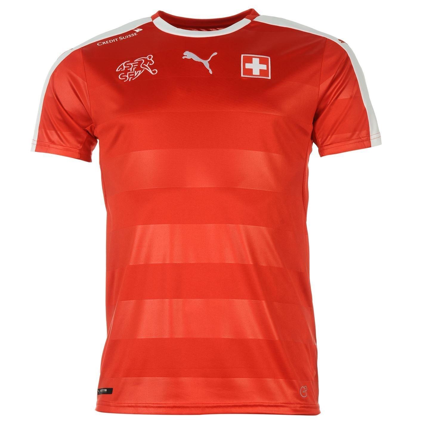 Puma Switzerland Home Jersey 2016メンズレッド/ホワイトフットボールサッカーシャツトップ B01GK4BOV8XLarge