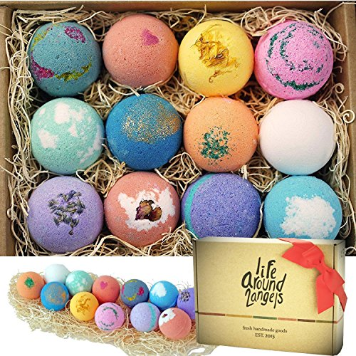 LifeAround2Angels Bath Bombs Gift Set 12 USA made Fizzies, Shea & Coco Butter Dry Skin Moisturize, Perfect for Bubble & Spa Bath. Handmade Birthday Mothers day Gifts idea For Her/Him, wife, girlfriend (Angel Review Green)