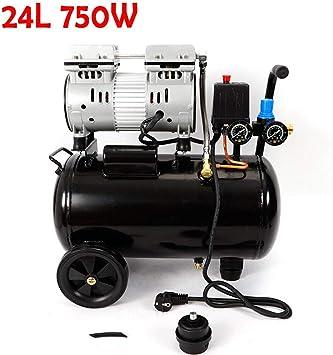 Oukaning Compresor de aire a presión, compresor de aire de 24 litros, silencioso, sin aceite, compresor de aire de 750 W 2 x f: Amazon.es: Bricolaje y herramientas