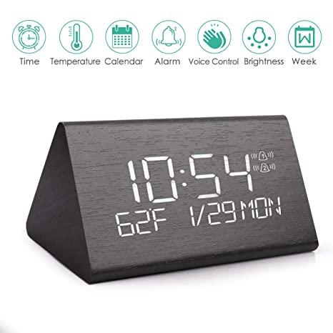 Wooden Digital Alarm Clock with 7 Levels Adjustable Brightness, Voice Command Electric LED Bedside Travel