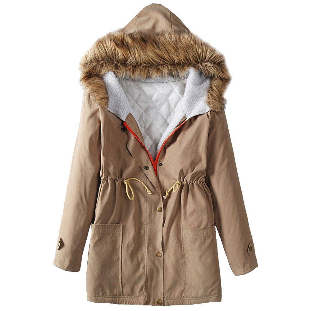 Ruiyige Women's Coat Hooded Warm Winter Plus Size Long Sleeve Zipper Outerwear 9091