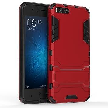 Apanphy Xiaomi Mi6 Funda, Xiaomi 6 Funda Híbrida de Silicona + Polycarbonato Doble Resistencia, y soporte Carcasa cover para Xiaomi Mi6 Rojo