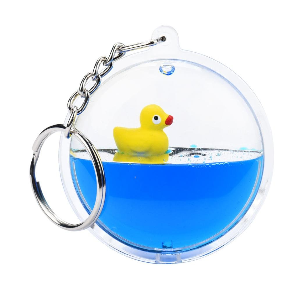 Sikye Mini Novelty Toy,Beautiful Moving Liquid Duck Fish Key Ring Filled Bottle Keychain Deor (D)