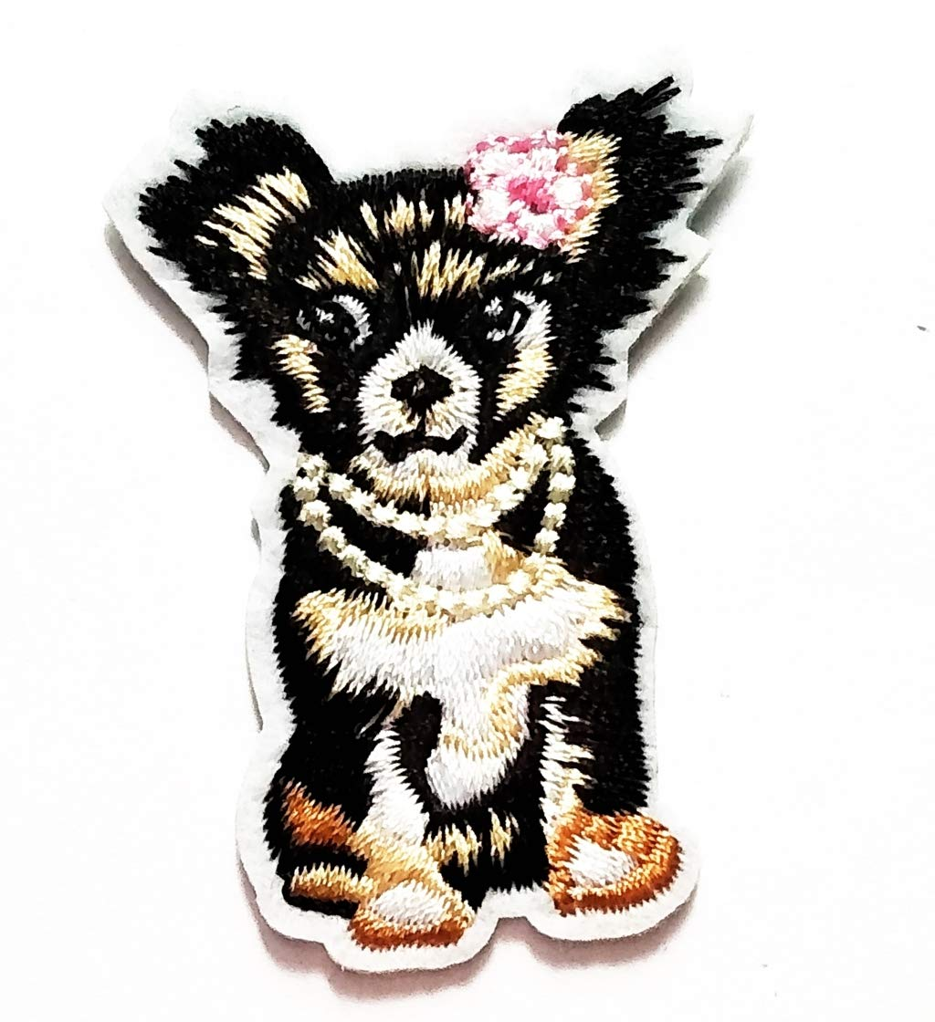 Nipitshop Patches Black Dog Labrador pet Dog Cartoon Kids Embroidered Appliques Patch Patterns Sew Iron on Badge Patch for Cloth Decoration Happy Birthday Gift (Dog1)