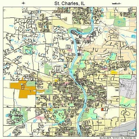 Amazon Com Large Street Road Map Of St Charles Illinois Il