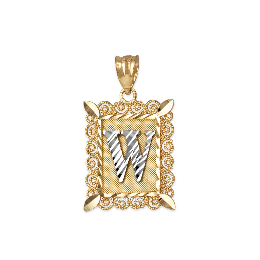 LA BLINGZ 10K Yellow Gold Filigree Alphabet Initial Letter W DC Charm Necklace