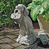 Design Toscano EU1379 Man's Best Friend Dog with Basket Outdoor Garden Statue, 19 Inch, Two Tone Stone
