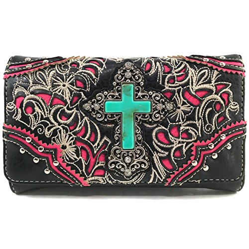 Handbag Long Cross Western Cross Only Purse Turquoise Rhinestone Bag Embroidery Wallet West Body Pink Wallet Trifold Strap Floral with Stone Justin Shoulder Messenger nWCzxz