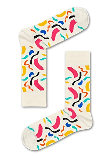 Happy Socks Brush Stroke Socks, Calcetines para Hombre, Blanco (Weiß 1000),