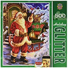 Masterpieces Holiday Glitter Jolly Saint Nick Jigsaw Puzzle (500-Piece), Art by Dona Gelsinger