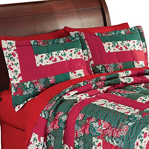 caledonia holiday patchwork quilted pillow