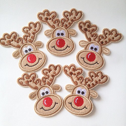 Set of 10 pcs Xmas Reindeer Iron On Sew On Cloth Embroidered Patches Appliques Machine Embroidery Needlecraft Sewing Projects DIY
