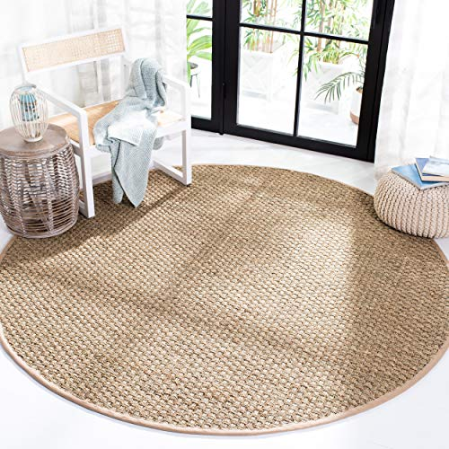 Safavieh Natural Fiber Collection NF114A Basketweave Natural and Beige Summer Seagrass Round Area Rug (10' Diameter)