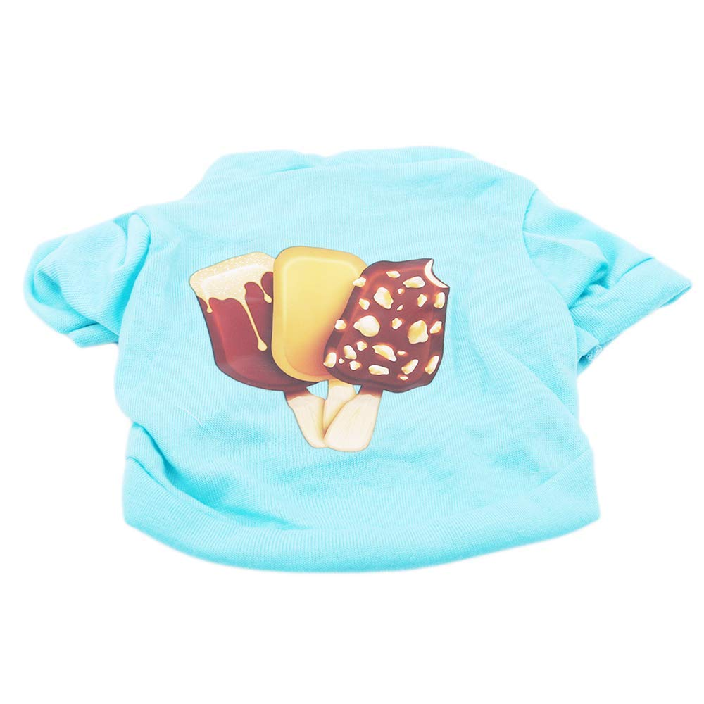 Yevison Cute ice Cream Print Pet Cloth Summer Cotton T-Shirt Dog Cat Clothes, XS Durable and Useful