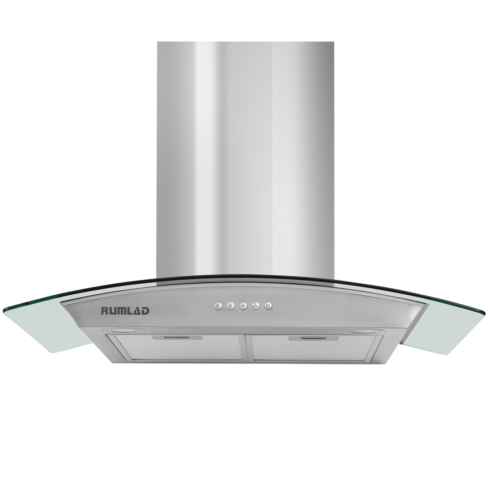 KUPPET 30'' Kitchen 430 Stainless Steel/Tempered Glass Wall Mount Range Hood with Aluminum Mesh Filter, W/Bright LED Lights and Classical Push Button 3 Speed Control, Silver