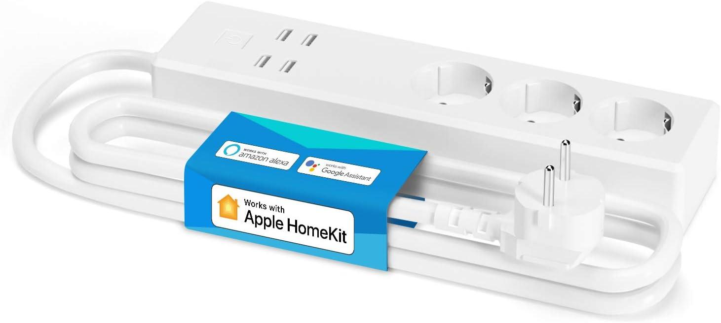 Multiprise Connectée HomeKit (Type F), Multiprise Intelligente WiFi Compatible avec HomeKit, Siri,...