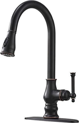 Bokaiya Antique High Arch Oil Rubbed Bronze Single Handle Pull Out Kitchen Sink Faucet, Kitchen Faucets with Pull Down Sprayer