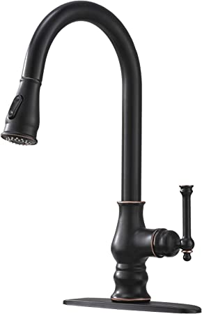 Bokaiya Antique High Arch Single Handle Pull Down Sprayer Oil Rubbed Bronze  Kitchen Faucet, Bronze Stainless Kitchen Sink Faucet
