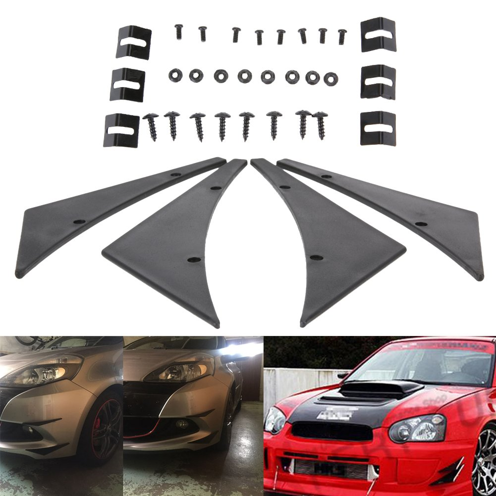 Amazingdeal365 Universal Fit Front Bumper Lip Splitter Fins Front Spoiler Canards Valence
