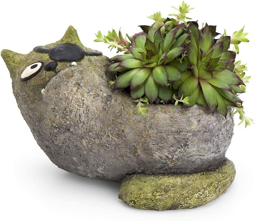 Jack Cat Planter, by Blobhouse, Decorative Planter w/Drain Hole Statue for Home Outdoor Garden Lawn & Indoor Art Accent Sculpture