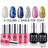"""Perfect Summer Pro Soak Off Gel Nail Polish, """"Dreaming in the Moonlight"""" Glitter Colors with Clear Base Coat and Top Coat Dual Set - Pack of 8, 8ml Each ( Starter Kit #10)"""