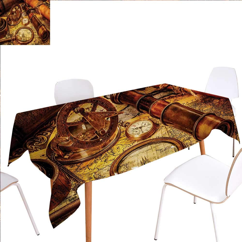 """familytaste Antique Patterned Tablecloth Magnifying Glass Compass Telescope and Pocket Watch on an Old Map Nautical Dust-Proof Oblong Tablecloth 54""""x72"""" Orange Brown Yellow"""