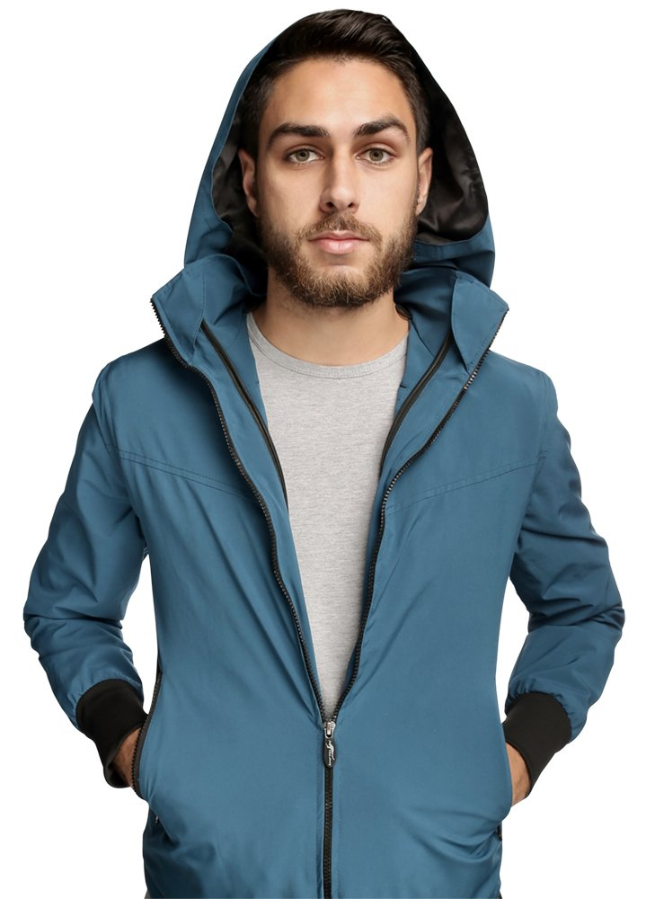 Joey Travel Jacket with Hidden Pockets (Men's) (Large, Blue) by Global Travel Clothing
