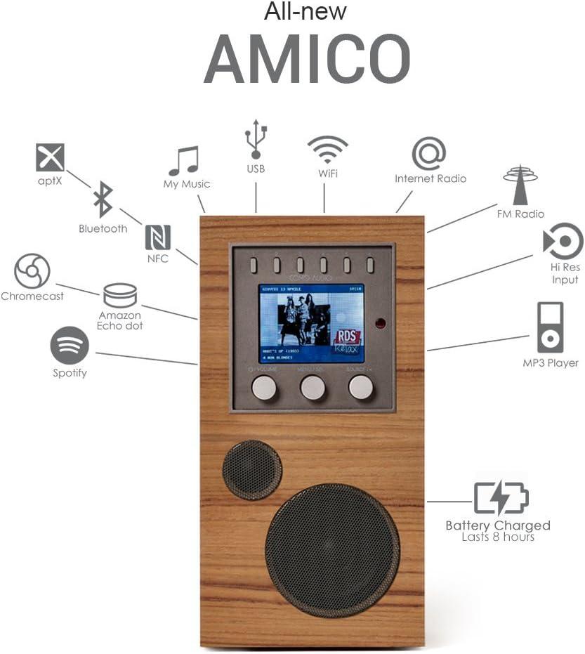 Como Audio: Amico - Sistema de música inalámbrico portátil con Radio de Internet, conexión de Radio, Wi-Fi, FM, Bluetooth y transmisión de un Solo Toque