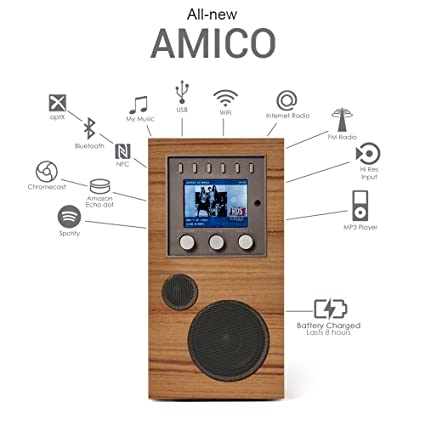 Como Audio: Amico - Portable Wireless Music System with Internet Radio,  Spotify Connect, Wi-Fi, FM, Bluetooth and One Touch Streaming