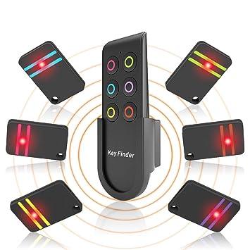 Key Finder, YANX Buscador de Llaves de Largo Alcance Localizador Llaves de Inalámbrico Flash Ligero Rastreador GPS con Soporte, 1 Transmisor de RF y 6 ...