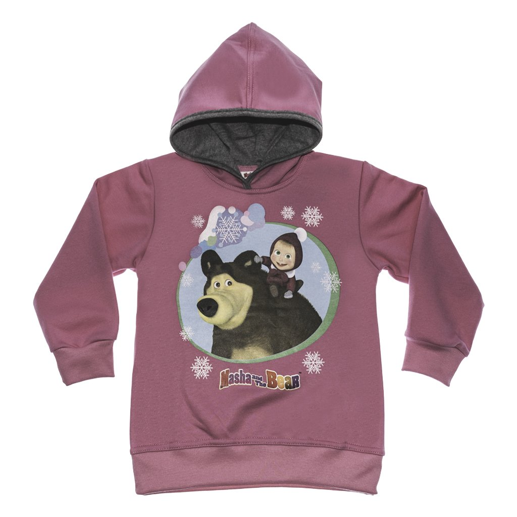 98 Kapuzen-Pulli mit s/ü/ßem Motiv von Masha and The Bear Kleines Kleid Mascha und der B/är M/ädchen-Pullover LANG-ARM rosa oder pink Oberteil Sweatshirt 116 Hoodie GR/ÖSSE 92 104 122 110