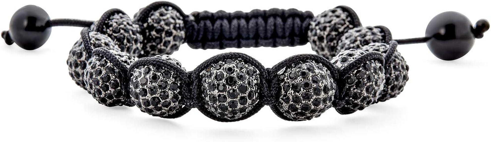 Shamballa flower crystal disco ball bracelet BLACK WHITE beads  macrame