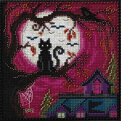 Moonstruck Beaded Counted Halloween Cross Stitch Kit Mill Hill MH141626 Buttons & Beads 2016 Autumn (Stitch Cross Black Cat)